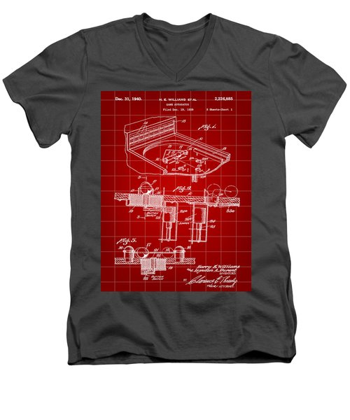 Pinball Machine Patent 1939 - Red Men's V-Neck T-Shirt by Stephen Younts