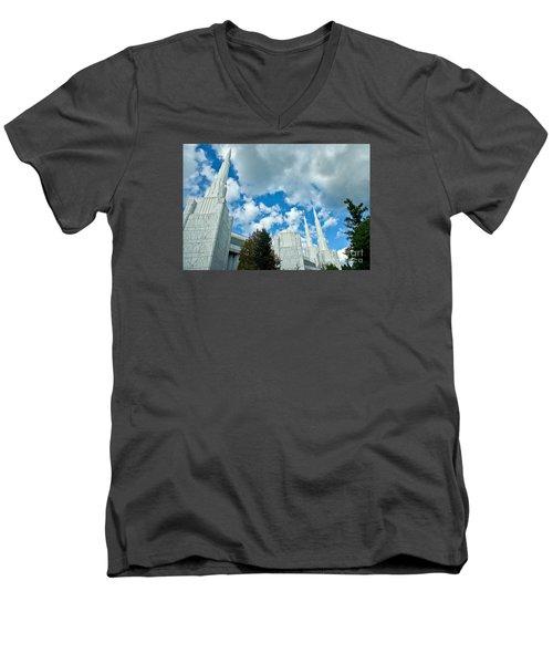 Men's V-Neck T-Shirt featuring the photograph Portland Oregon Lds Temple by Nick  Boren