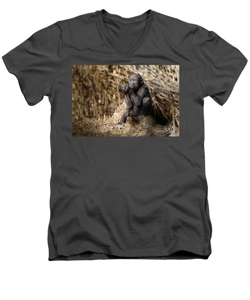 Quiet Juvenile Gorilla Men's V-Neck T-Shirt