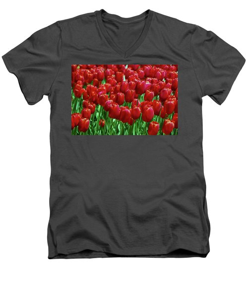 Men's V-Neck T-Shirt featuring the photograph Red Tulips  by Allen Beatty