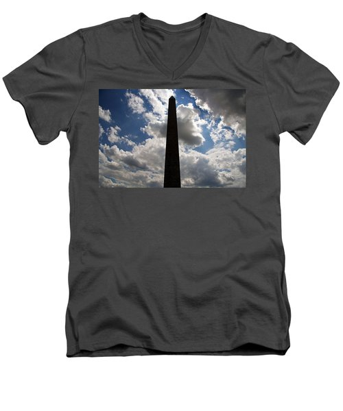 Men's V-Neck T-Shirt featuring the photograph Silhouette Of The Washington Monument by Cora Wandel