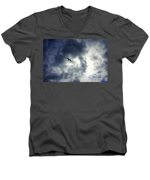 Men's V-Neck T-Shirt featuring the photograph Storm Flyer by Marilyn Wilson