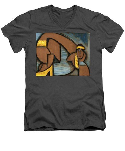 Cubist Hawaii Hula Girl Art Print Men's V-Neck T-Shirt