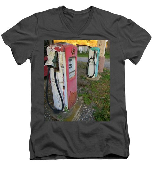 Men's V-Neck T-Shirt featuring the photograph 33 Cents Per Gallon by Jean Goodwin Brooks