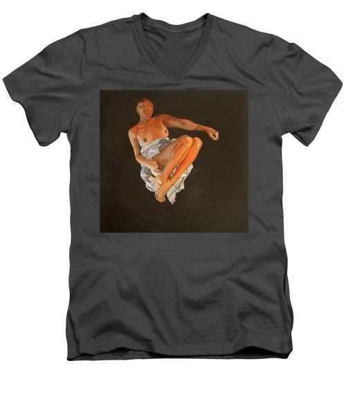 Men's V-Neck T-Shirt featuring the painting 4 30 Am by Thu Nguyen