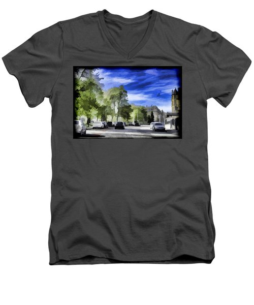 Cars On A Street In Edinburgh Men's V-Neck T-Shirt