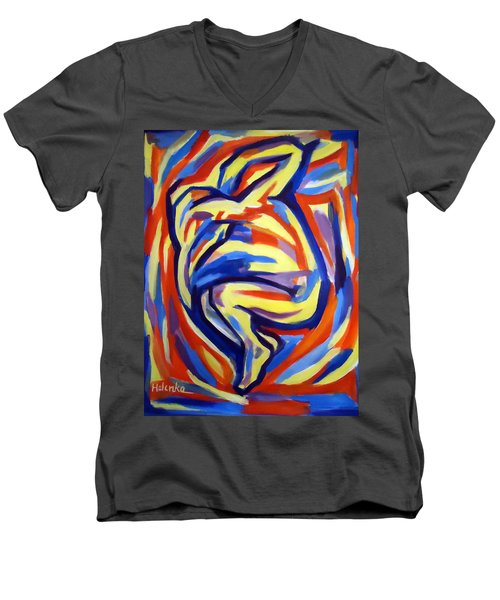 Men's V-Neck T-Shirt featuring the painting Here by Helena Wierzbicki