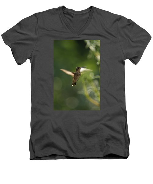 Men's V-Neck T-Shirt featuring the photograph Hummer by Heidi Poulin