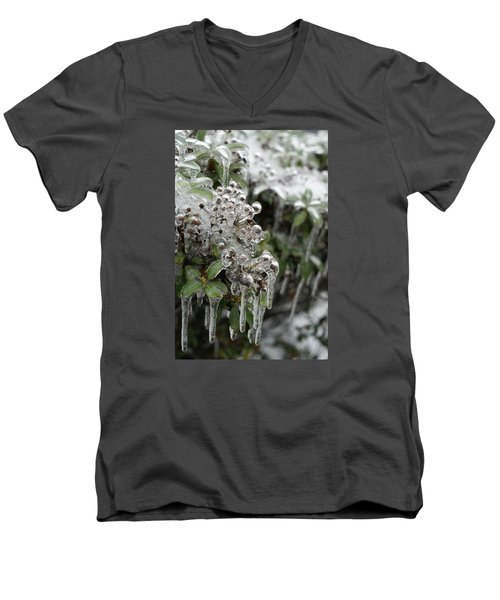 Men's V-Neck T-Shirt featuring the photograph Ice  by Heidi Poulin