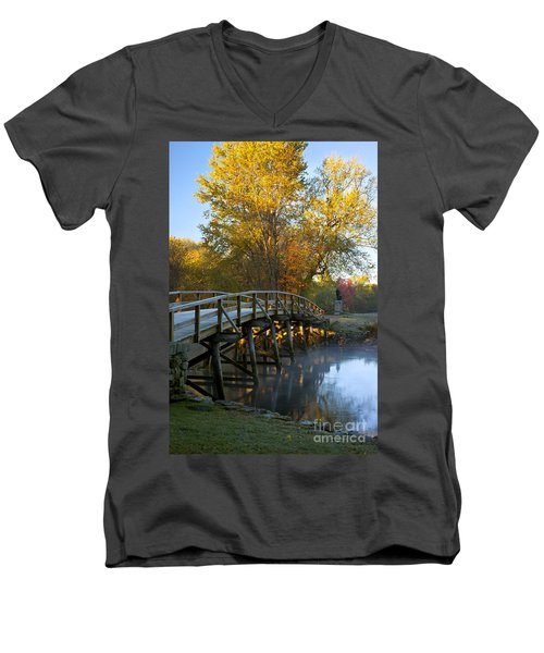 Old North Bridge Concord Men's V-Neck T-Shirt
