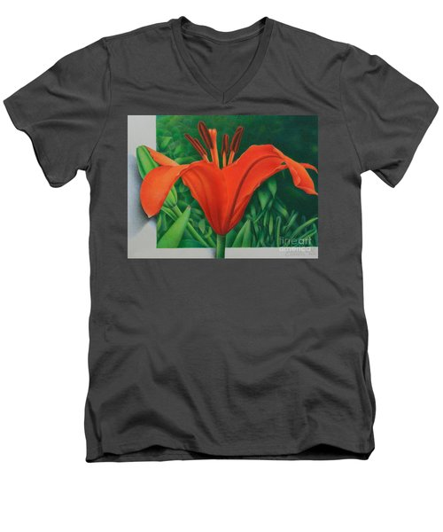 Men's V-Neck T-Shirt featuring the painting Orange Lily by Pamela Clements