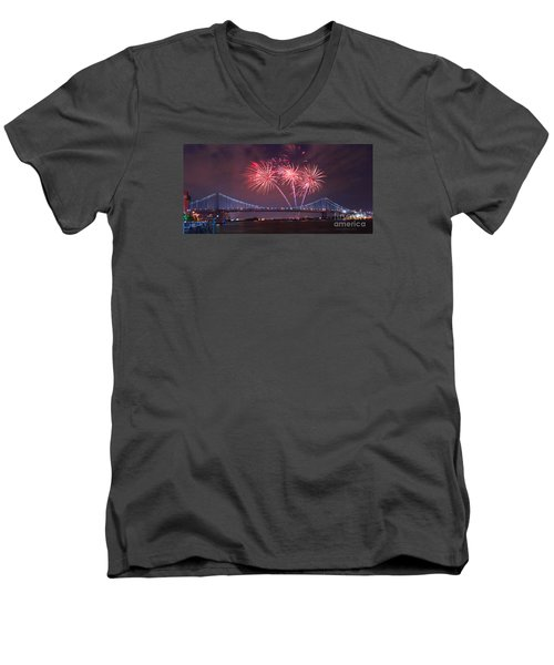 Men's V-Neck T-Shirt featuring the photograph 4 Th Of July Firework by Rima Biswas