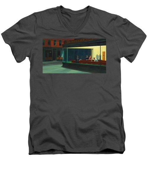 Nighthawks Men's V-Neck T-Shirt by Edward Hopper