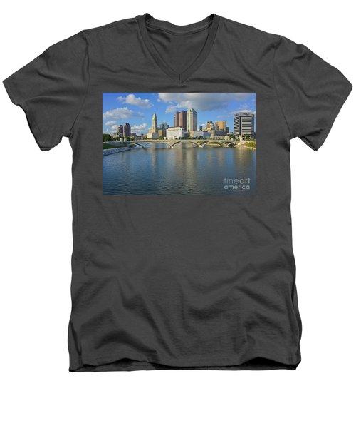 Fx1l-802 Columbus Ohio Skyline Photo Men's V-Neck T-Shirt