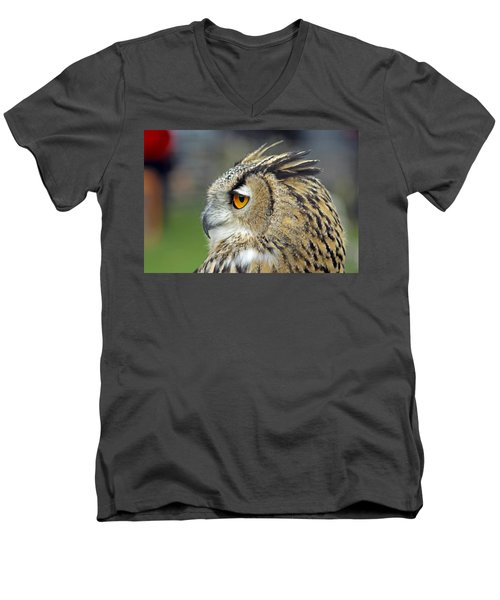 European Eagle Owl Men's V-Neck T-Shirt by Tony Murtagh