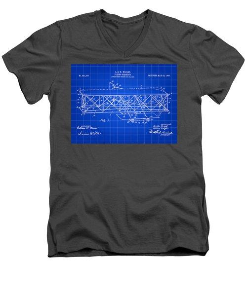 Flying Machine Patent 1903 - Blue Men's V-Neck T-Shirt