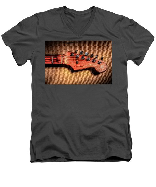 Men's V-Neck T-Shirt featuring the photograph '56 Stratocaster by Ray Congrove