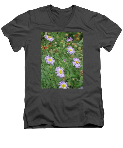 6 Asters Left Men's V-Neck T-Shirt