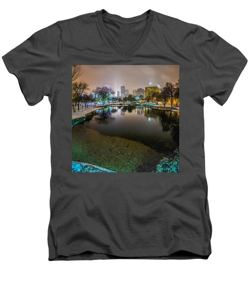 Charlotte Nc Skyline Covered In Snow In January 2014 Men's V-Neck T-Shirt