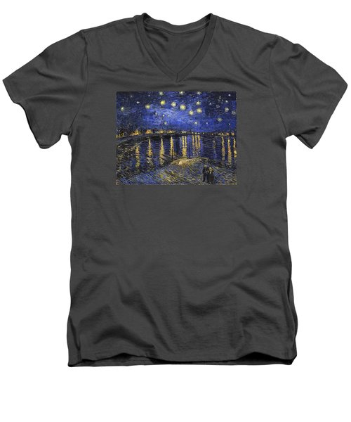 Starry Night Over The Rhone Men's V-Neck T-Shirt
