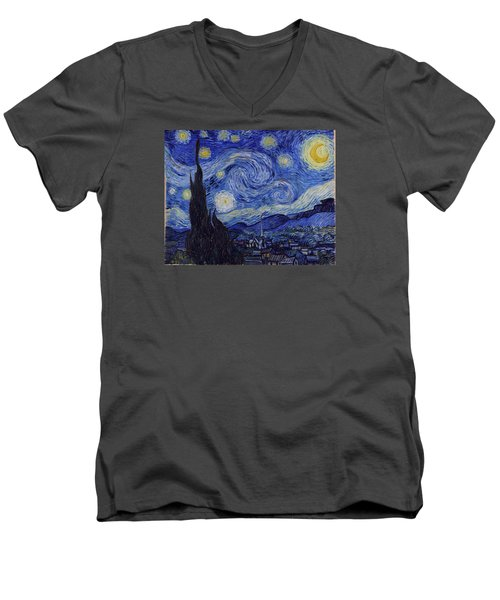 Starry Night Men's V-Neck T-Shirt by Vincent Van Gogh