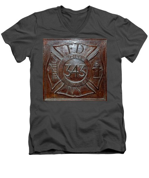 9 11 01 F D N Y 343 Men's V-Neck T-Shirt by Rob Hans