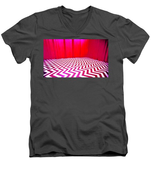 Men's V-Neck T-Shirt featuring the painting Black Lodge by Luis Ludzska