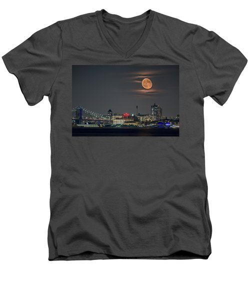 9 O'clock Men's V-Neck T-Shirt by Eduard Moldoveanu