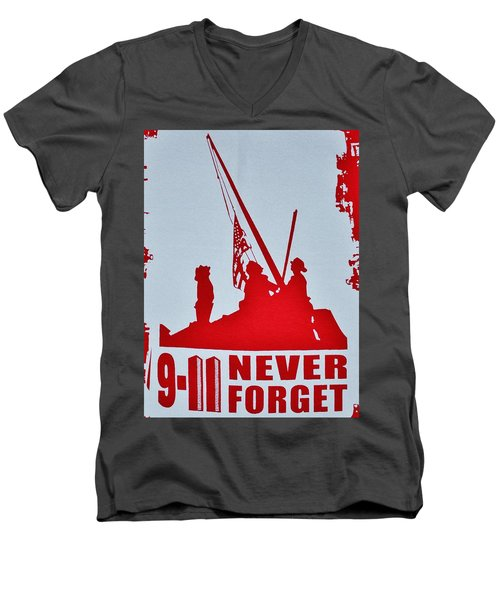 Men's V-Neck T-Shirt featuring the photograph 9-11 Never Forget Poster  by Bob Sample