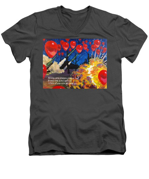 99 Red Balloons Men's V-Neck T-Shirt