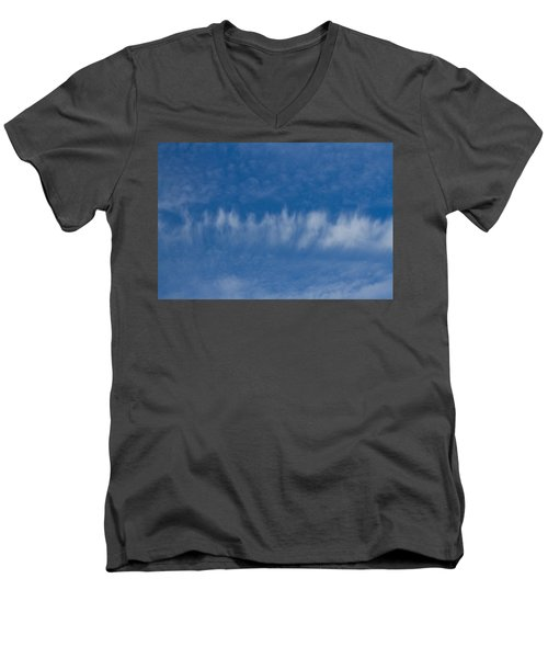 Men's V-Neck T-Shirt featuring the photograph A Batch Of Interesting Clouds In A Blue Sky by Eti Reid