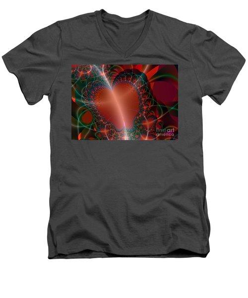 Men's V-Neck T-Shirt featuring the digital art A Big Heart by Ester  Rogers