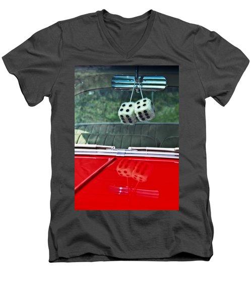 A Bit Dicey Men's V-Neck T-Shirt by Mark Alder