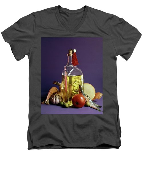 A Bottle Of Olive Oil Surrounded By A Variety Men's V-Neck T-Shirt