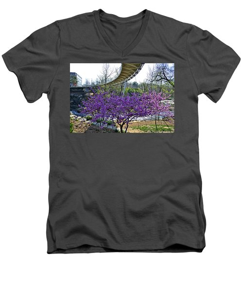 Men's V-Neck T-Shirt featuring the photograph A Bridge To Spring by Larry Bishop