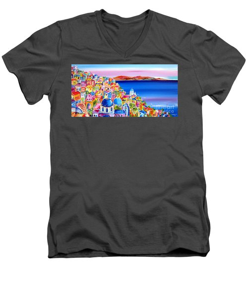 Men's V-Neck T-Shirt featuring the painting A Bright Day In Santorini Greece by Roberto Gagliardi
