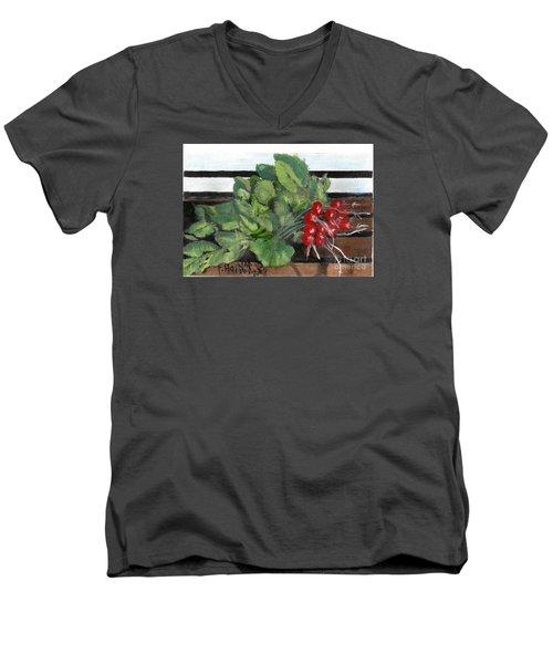 A Bunch Of Radishes  Men's V-Neck T-Shirt by Francine Heykoop