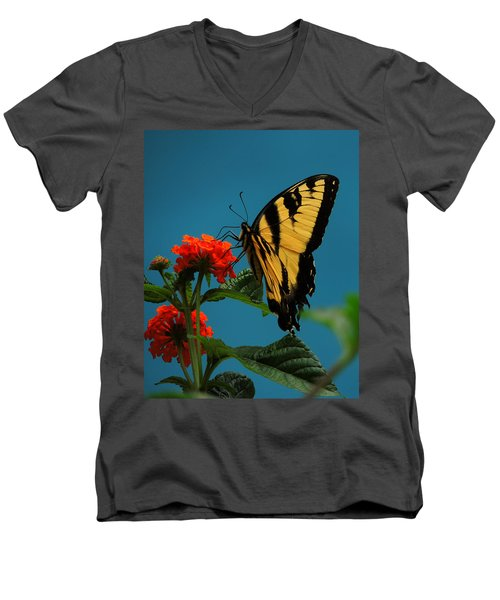 Men's V-Neck T-Shirt featuring the photograph A Butterfly by Raymond Salani III