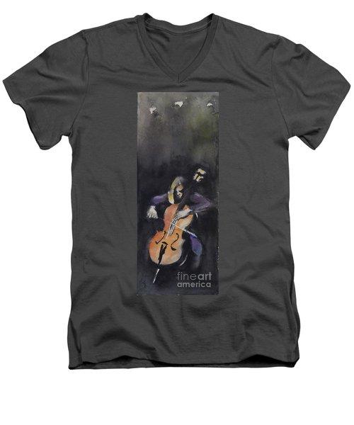 A Cellist Men's V-Neck T-Shirt by Yoshiko Mishina