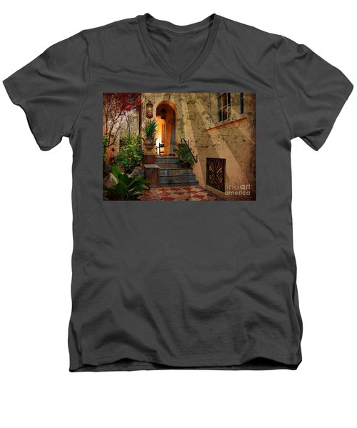 Men's V-Neck T-Shirt featuring the photograph A Charleston Garden by Kathy Baccari