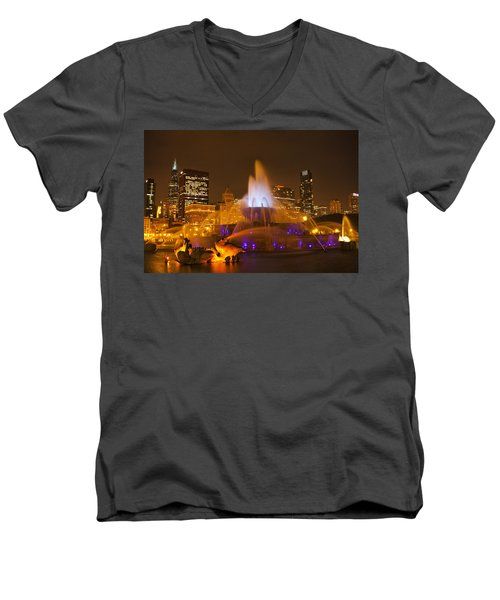 A Chicago Twilight Men's V-Neck T-Shirt by Andrew Soundarajan