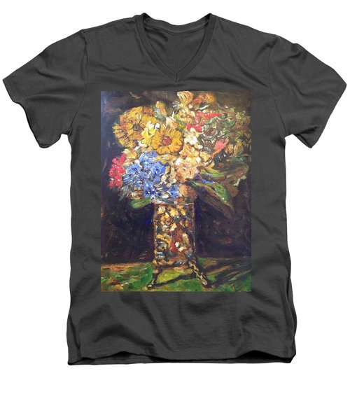 Men's V-Neck T-Shirt featuring the painting A Colorful Sun-day by Belinda Low