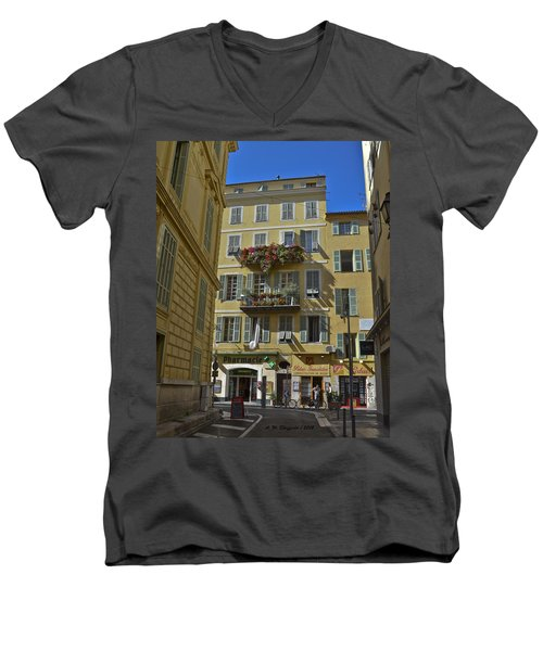 Men's V-Neck T-Shirt featuring the photograph A Corner In Nice by Allen Sheffield