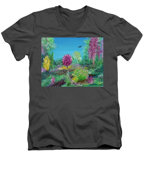 A Corner Of Heaven In Rural Indiana Men's V-Neck T-Shirt by Alys Caviness-Gober
