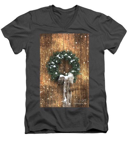 A Country Christmas Men's V-Neck T-Shirt by Benanne Stiens
