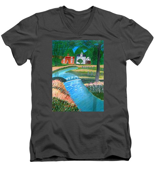 Men's V-Neck T-Shirt featuring the painting A Country Stream by Magdalena Frohnsdorff