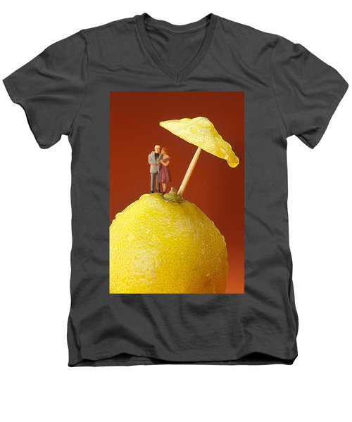 Men's V-Neck T-Shirt featuring the painting A Couple In Lemon Rain Little People On Food by Paul Ge