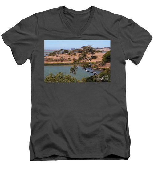 Men's V-Neck T-Shirt featuring the photograph A Cove In Late Summer At Elkhorn Slough by Susan Wiedmann