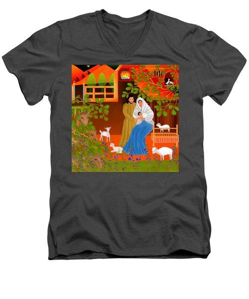 Men's V-Neck T-Shirt featuring the digital art A Cradle In Bethlehem by Latha Gokuldas Panicker