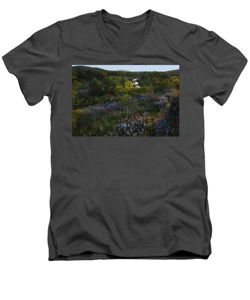 A Creek In Llano County  Men's V-Neck T-Shirt
